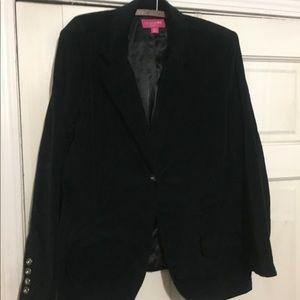 Black Cotton Velveteen Jewel Buttoned Blazer.